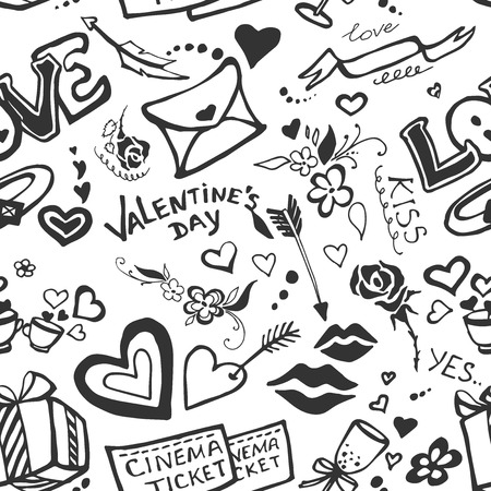cartoon lips: Pattern of Valentines cute doodles and design elements.