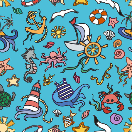 stuff fish: Doodle pattern sea creatures doodles, nautical stuff, fish, starfish and other Illustration