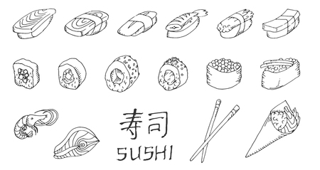 salmon dinner: Sushi and rolls set , hand drawing . Fresh fish and rice. Soy sauce with sticks.
