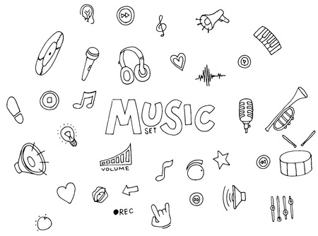 vibrations: Music - doodles collection Illustration