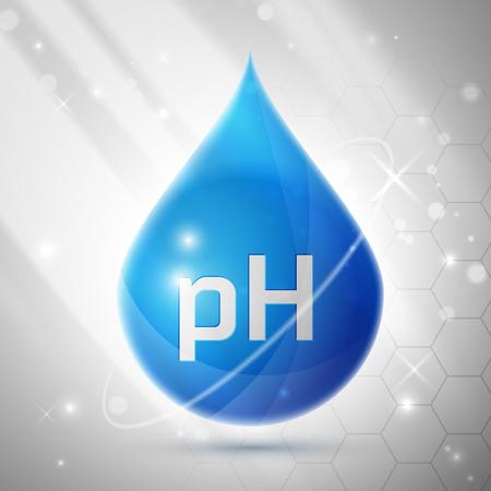 Blue PH Balance Icon or Label Isolated on White Background