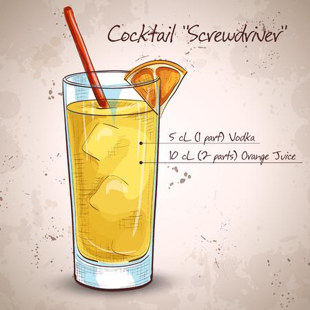 Screwdriver cocktail with Vodka, Orange juice, Ice cubes, Orange