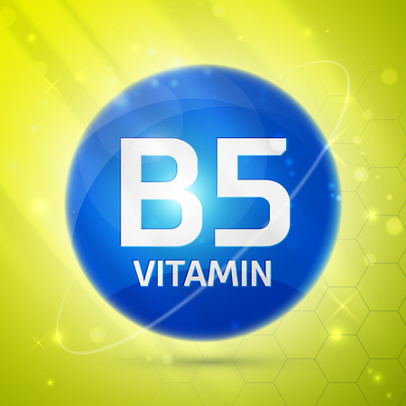 articles: Vitamin B5 icon with bright color glossy ball for science articles, medicine and health magazines