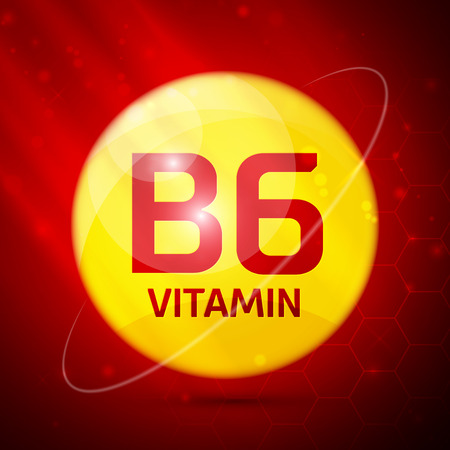 articles: Vitamin B6 icon with bright color glossy ball for science articles, medicine and health magazines