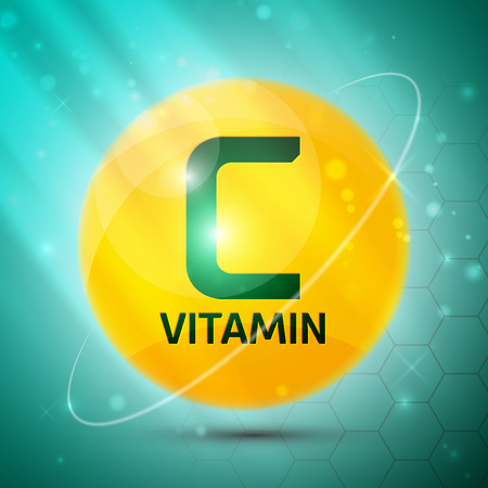 Vitamin C icon with bright color glossy ball for science articles, medicine and health magazines Stock Illustratie