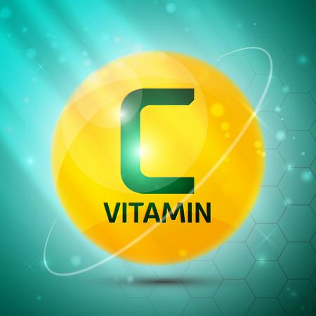 Witamina C ikona z jasnym kolorze błyszczącym piłki artykułów naukowych, medycynie i czasopism zdrowia Ilustracje wektorowe