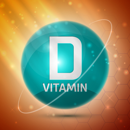 Vitamin D icon with bright color glossy ball for science articles, medicine and health magazines Ilustração