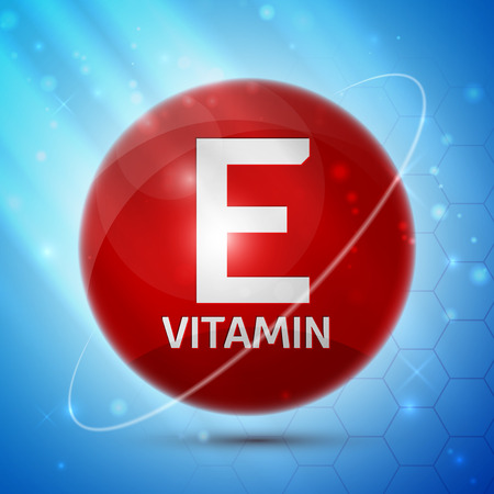 vitamins pills: Vitamin E icon with bright color glossy ball for science articles, medicine and health magazines