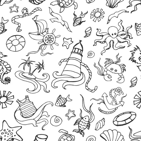 sea creatures: Doodle pattern sea creatures doodles, nautical stuff, fish, starfish and other Illustration