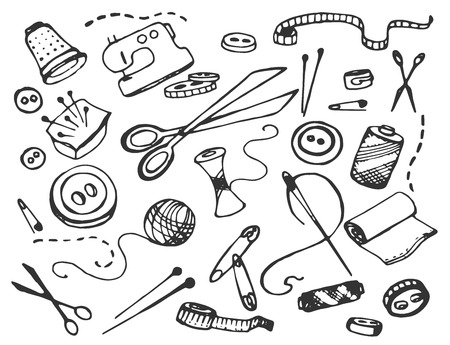 scissors icon: Hand drawn doodle vector set of tailor business Illustration