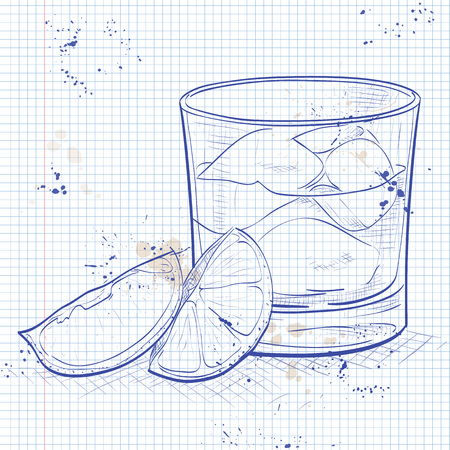 mixed drink: Rusty Nail Cocktail on a notebook page - mixed drink with lemon peel