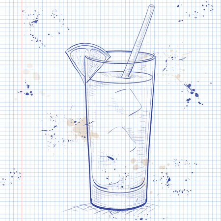 scetch: Screwdriver scetch cocktail with Vodka, Orange juice, Ice cubes, Orange on a notebook page Illustration