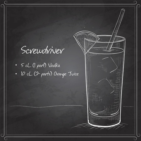 scetch: Screwdriver scetch cocktail  with Vodka, Orange juice, Ice cubes, Orange on black board