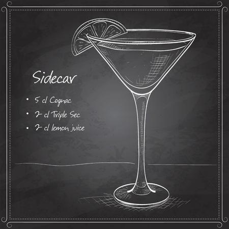 sidecar: Sidecar cocktail in martini glass on black board Illustration