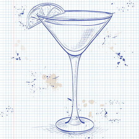 sidecar: Sidecar cocktail in martini glass on a notebook page Illustration
