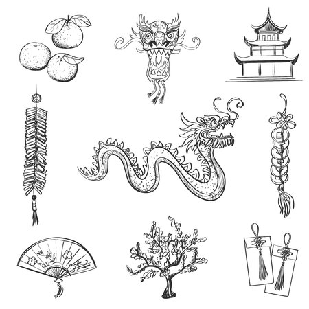 lion dance: Chinese New Year icons set, Chinese word - Happy new year. Spring and Blessing. Illustration