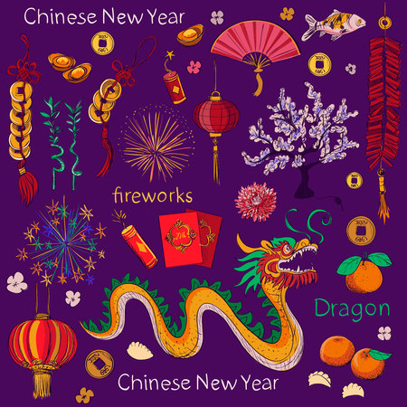 asian cartoon: Chinese New Year elements, Chinese word - Happy new year. Spring and Blessing. Illustration