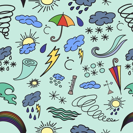 cartoon umbrella: Hand drawn Doodle patern weather, vector illustration,