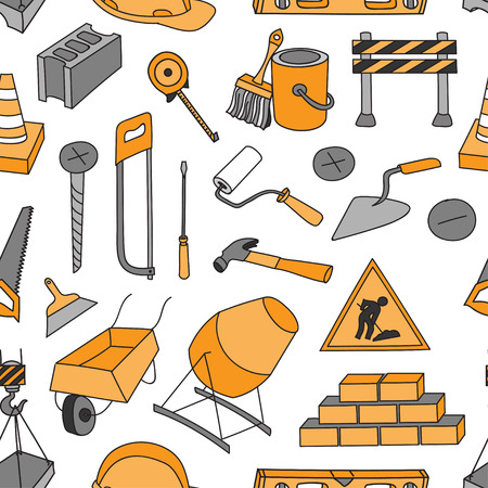 putty knife: Doodle pattern construction tools vector pattern. Drill, screwdriver,pliers,saw,  knife, wrench, hammer, screwdriver, screws, putty knife, brush.