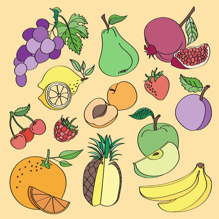cartoon strawberry: Doodle vector fruit on colorful background. Vector illustration, EPS 10