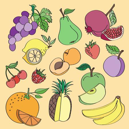 banana caricatura: fruta vectorial dibujo en colores de fondo. Ilustraci�n del vector, EPS 10