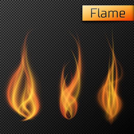 llamas de fuego: vectores llamas del fuego en fondo transparente. Ilustración del vector, EPS 10 Vectores