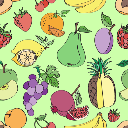 fabric patterns: Doodle pattern fruit on colorful background. Vector illustration, Illustration