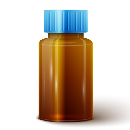 bottle of medicine: Medicine bottle of brown glass or Plastic isolated on white background.