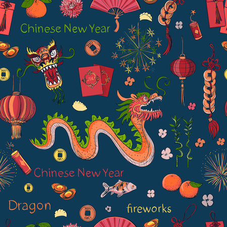 lion dance: Seamless Chinese New Year pattern- Happy new year. Spring and Blessing.