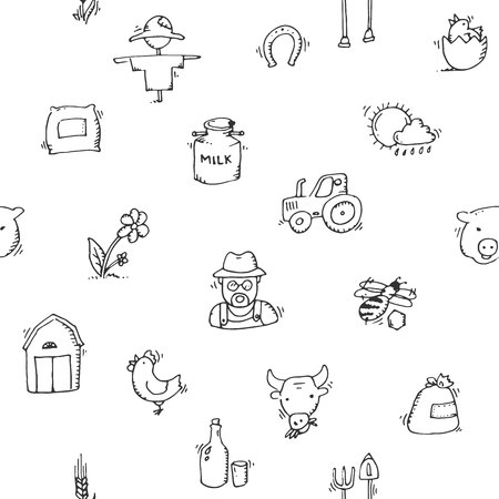milker: Seamless pattern Hand drawn Farm icon set. Vector illustration,