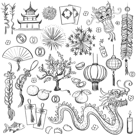 Traditional symbols of Chinese New Year- Happy new year. Spring and Blessing. Illustration