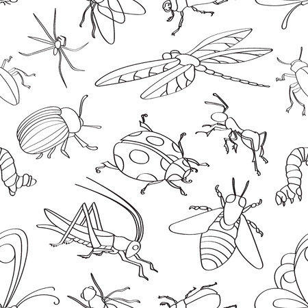 insect: Doodle pattern with various insects. Vector illustration, Illustration