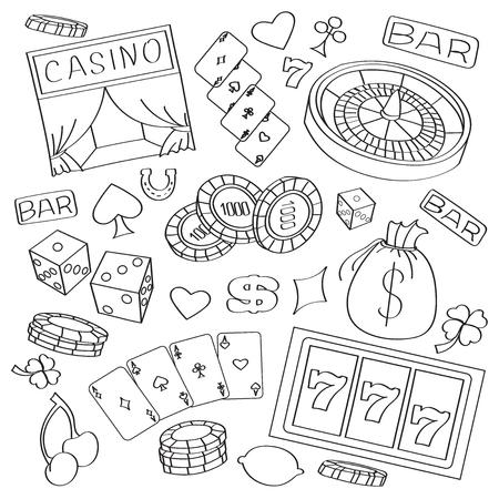jack pot: Doodle vector casino with roulette, cards, cigar, whisky, casino chip, jack pot, dice, money