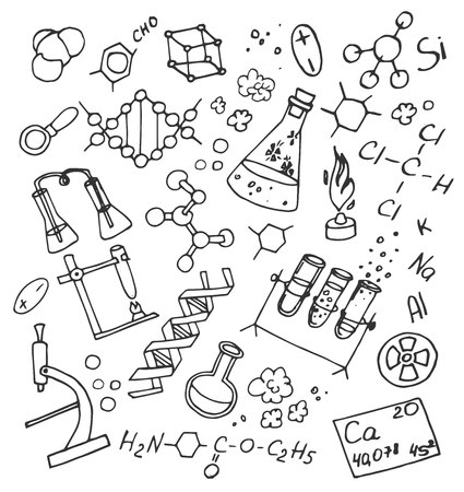 Hand Drawn Doodle vektor chemistry. Science background.