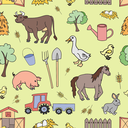 rakes: Doodle pattern farm with cow, goat, pig, chicken, rooster, horse, turkey, tractor, rakes, sunflowers, cabbage, carrots, eggs, milk, haystack, Illustration