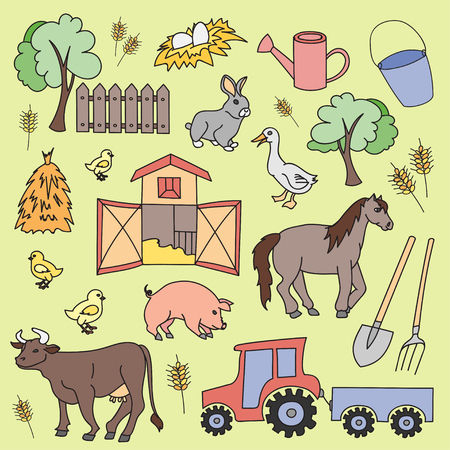 Doodle vector farm with cow, goat, pig, chicken, rooster, horse, turkey, tractor, rakes, sunflowers, cabbage, carrots, eggs, milk, haystack, Illustration