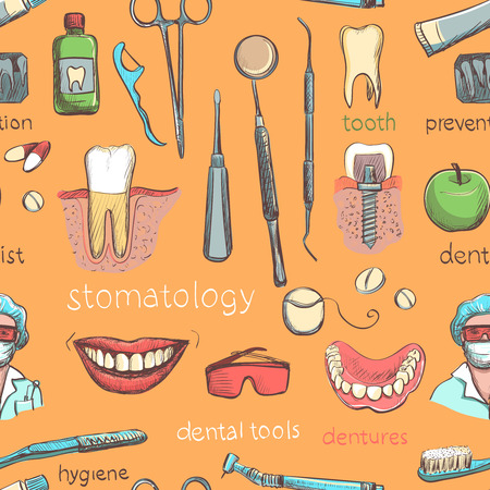 tooth paste: Seamless pattern with dental care instruments- tooth paste, tooth brush, smiling teeth, tooth with braces, dental floss, mouth wash and implant. Vector illustration. Repeating pattern, dental clinic. Illustration