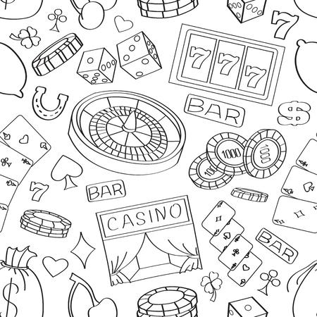 jack pot: Doodle casino hand drawn pattern with roulette, cards, cigar, whisky, casino chip, jack pot, dice, money Illustration