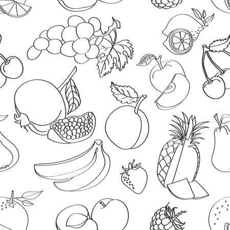 strawberry cartoon: Doodle pattern fruit on white background. Vector illustration, Illustration