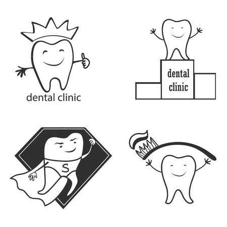 shedding: Dental implants symbol collection. Clean and bright designs. Illustration