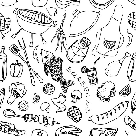 stake: Barbecue, picnic and grill dooble pattern with hand drawn elements of sausage, stake, fish, tomato, soda. Vector illustration. Illustration