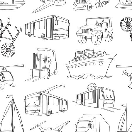 sun set: Doodle patern transport. Vector illustration,