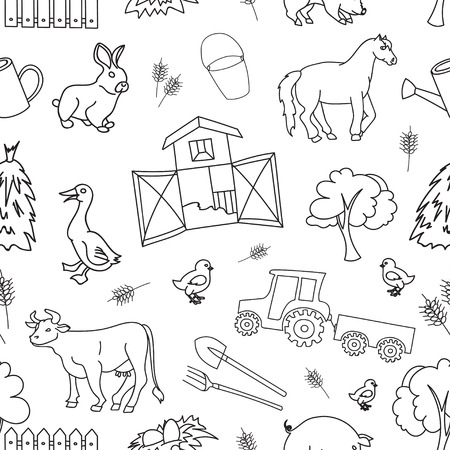 black sheep: Doodle pattern farm with cow, goat, pig, chicken, rooster, horse, turkey, tractor, rakes, sunflowers, cabbage, carrots, eggs, milk, haystack, Illustration