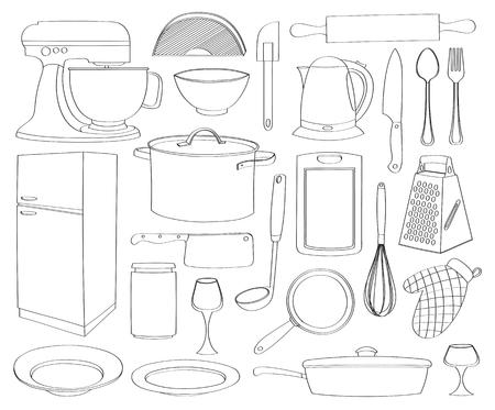 Doodle vector kitchen - Kitchen tools, cooking food