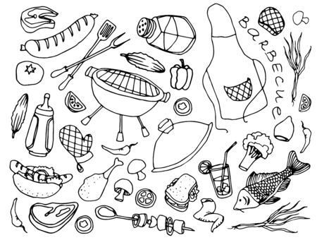 stake: Doodle vector barbecue with hand drawn elements of sausage, stake, fish, tomato, soda. Vector illustration. Illustration