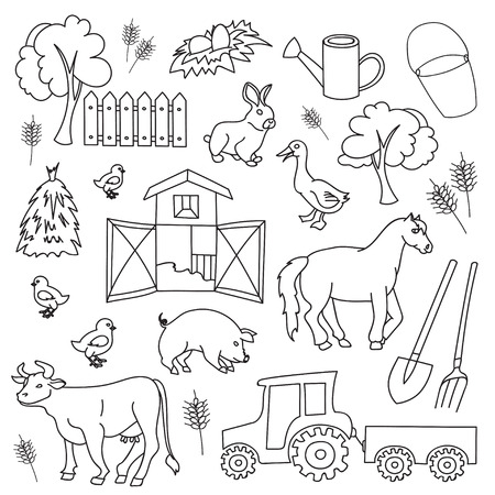black sheep: Doodle vector farm with cow, goat, pig, chicken, rooster, horse, turkey, tractor, rakes, sunflowers, cabbage, carrots, eggs, milk, haystack, Illustration