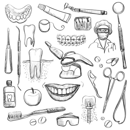 dentist cartoon: Set of Dentist with different dental equipment - tooth paste, tooth brush, smiling teeth, tooth with braces, dental floss, mouth wash and implant. Vector illustration.