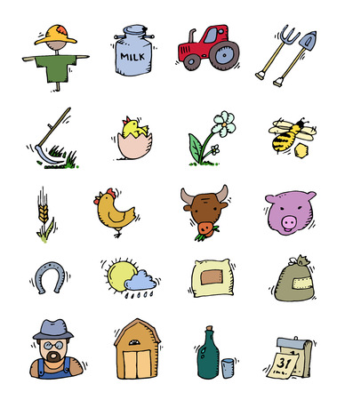 milker: Colored Hand drawn Farm icon set -cow, goat, pig, chicken, rooster, horse, turkey, tractor, rakes, sunflowers, cabbage, carrots, eggs, milk, haystack and other
