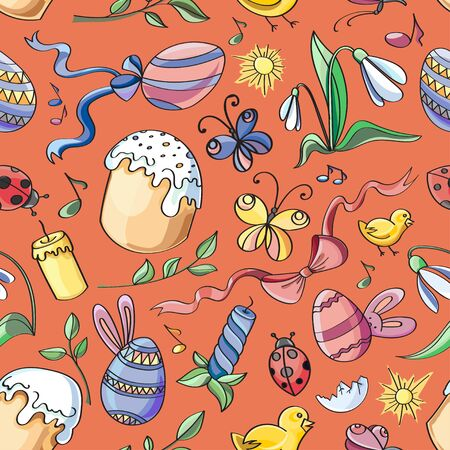 love symbols: Doodle pattern easter. Vector illustration