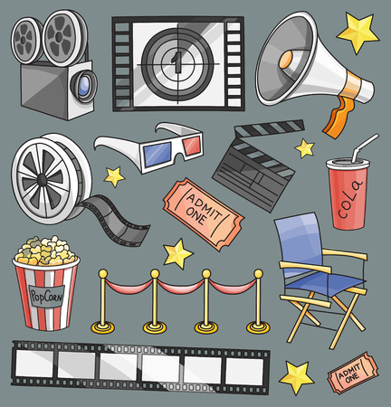 cinema film: Doodle vector cinema hand drawn set of objects and symbols on the cinema theme